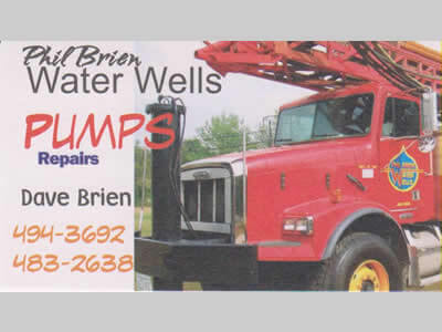 Phil Brien Water Wells business card